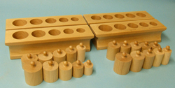 Simple Knobbed Cylinder Blocks  - Set of 4
